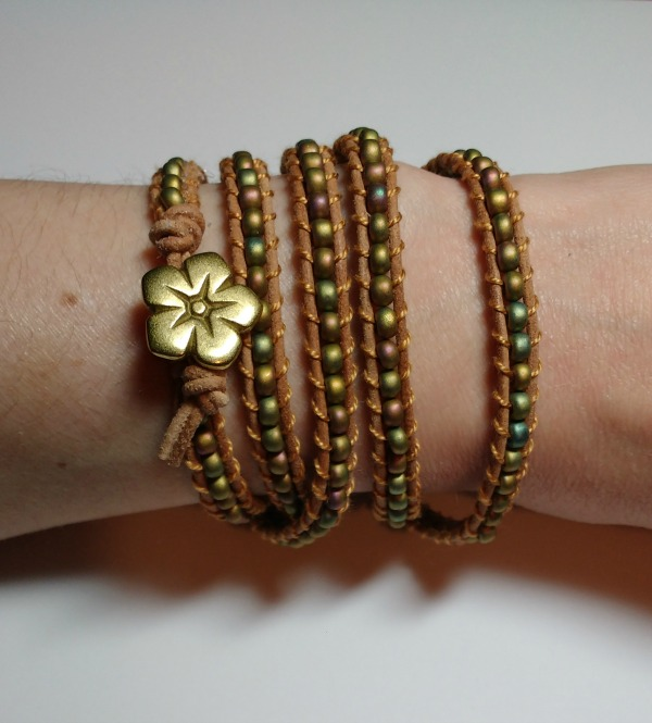 Completed Leather Wrap Bracelet with Beads