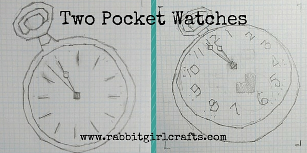 sketches for the White Rabbit's pocket watch