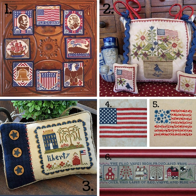 collage of patriotic American cross-stitch patterns for July 4