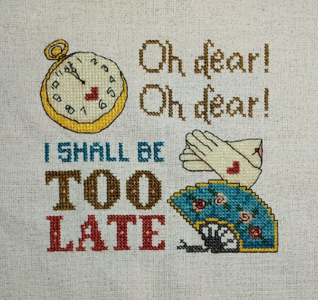 I'm Late: An Alice in Wonderland White Rabbit Inspired Cross-Stitch Pattern