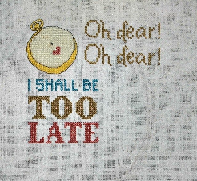 Alice in Wonderland White rabbit inspired cross-stitch pattern