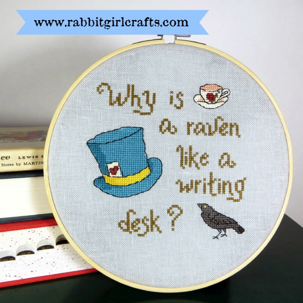 The Raven and the Writing Desk Alice in Wonderland Mad Hatter Cross-Stitch Pattern by Rabbit Girl Crafts