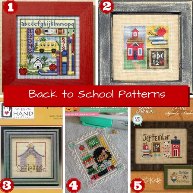 Collage of five back-to-school themed cross-stitch patterns