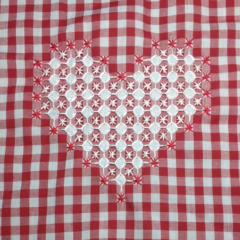 Chicken Scratch Embroidery Heart Sample Completed Rabbit Girl Crafts