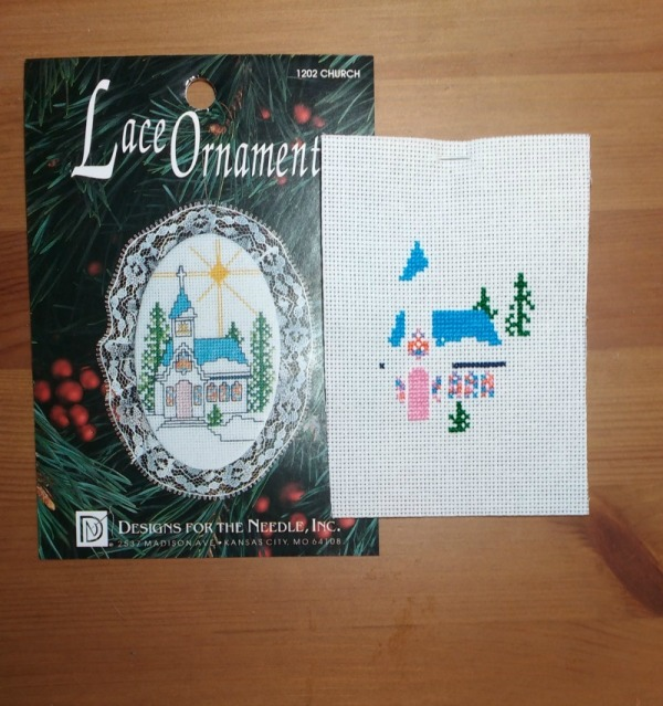 Cross-Stitch Church Ornament Progress