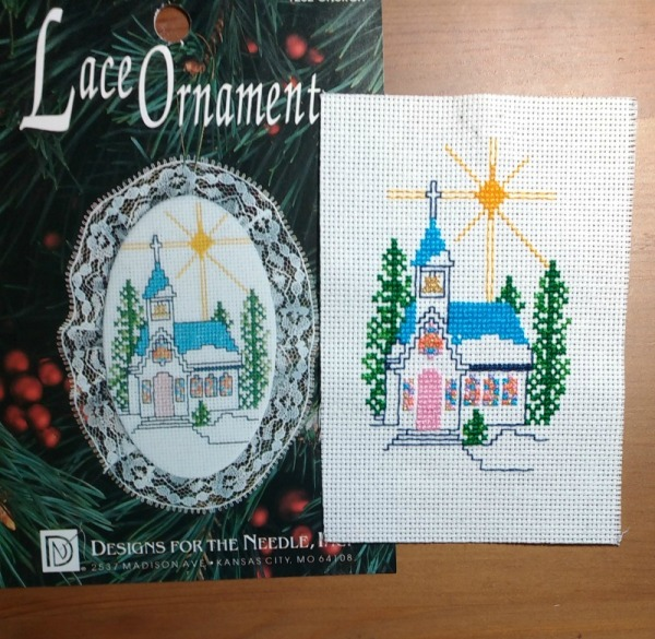 small church cross-stitch ornament almost finished