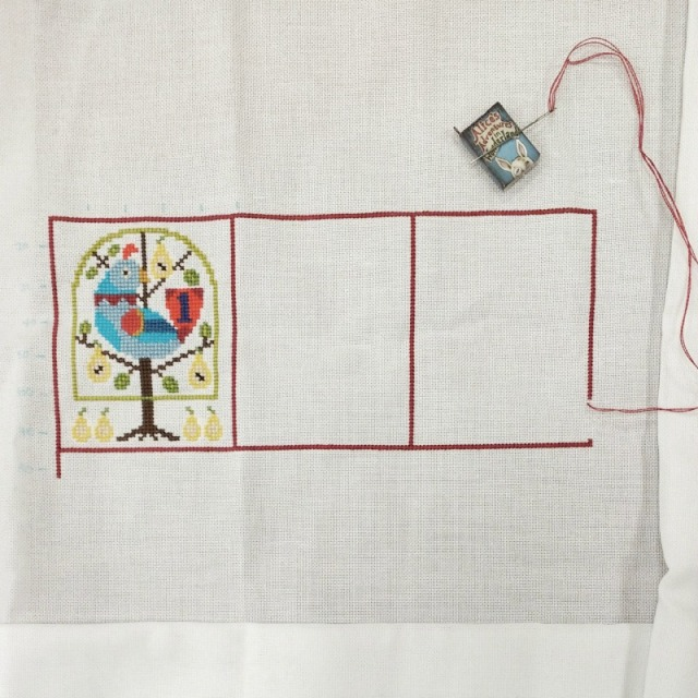 progress on 12 days of Christmas cross-stitch project