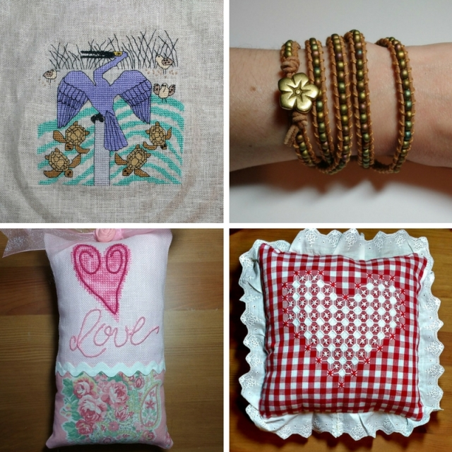 finished cross-stitch pieces, embroidery and bracelet