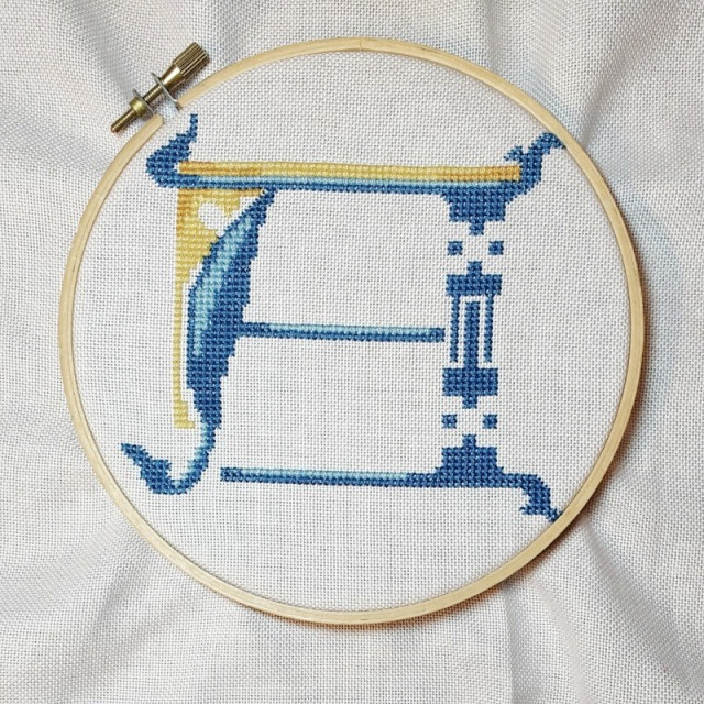 letter A progress All Shall Be Well Julian of Norwich cross-stitch pattern