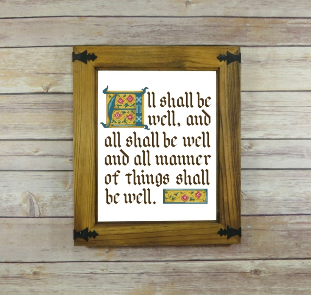 All Shall Be Well Julian of Norwich Quote Cross-Stitch Pattern