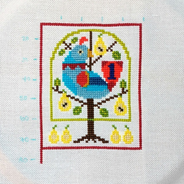 partridge in a pear tree cross-stitch