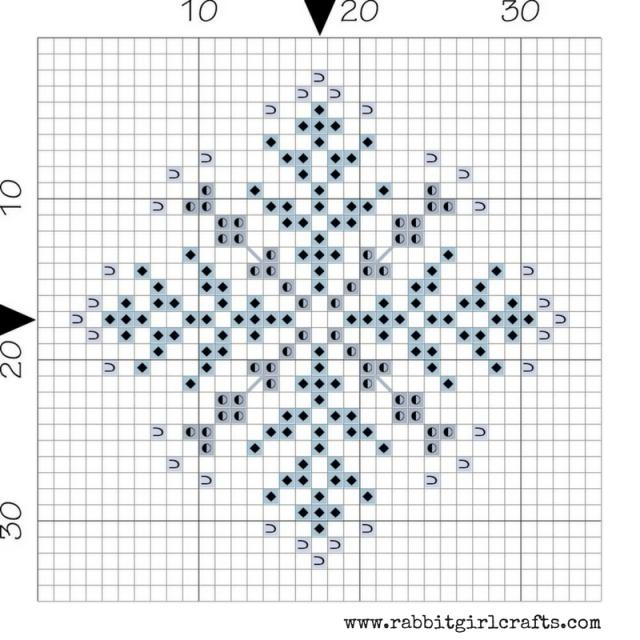 free winter snowflake cross-stitch pattern