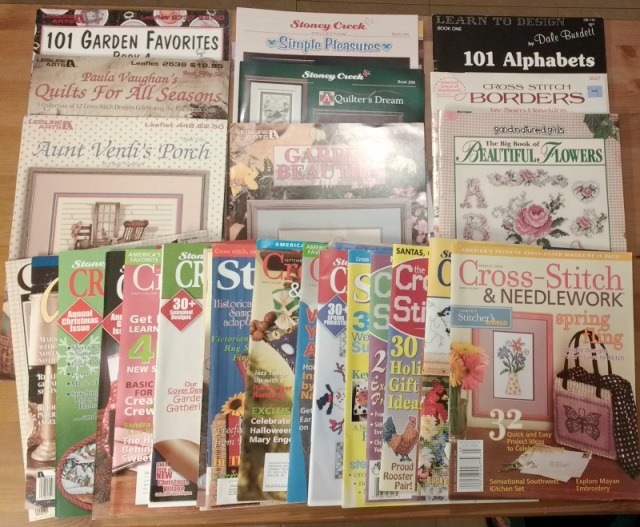 Destash of cross-stitch charts and magazines