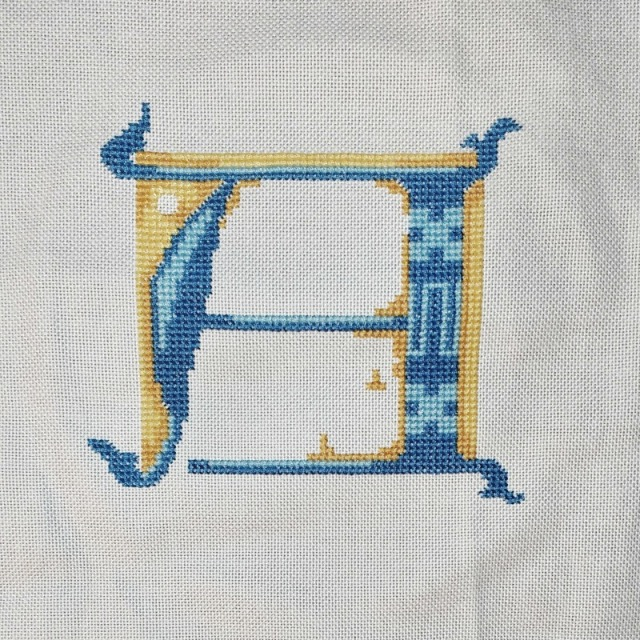 stitched letter A progress 1