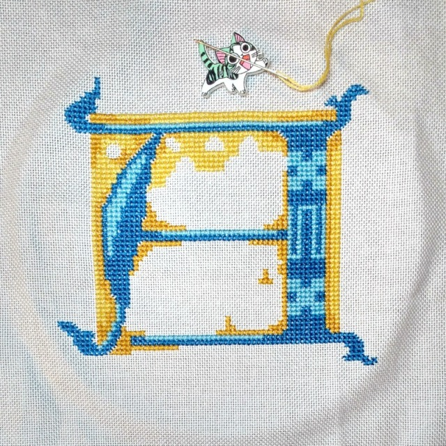 stitched letter A progress 2