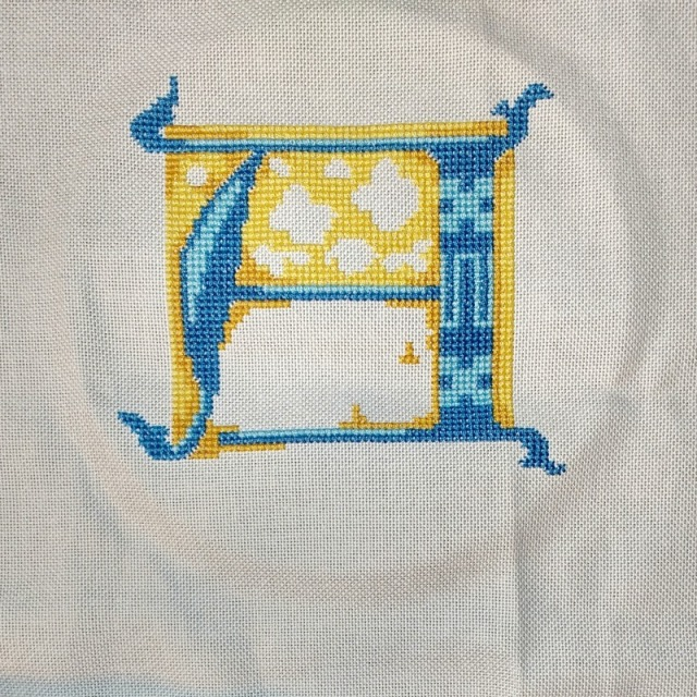 stitched letter A progress 3