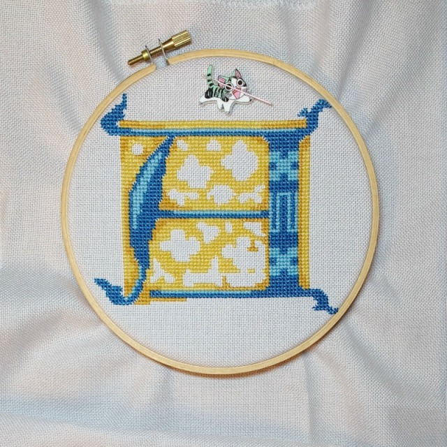 stitched letter A progress 4
