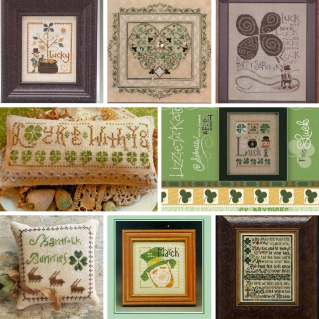 collage of cross-stitch patterns for St Patrick's Day