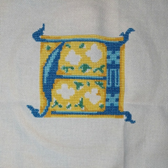medieval-style initial A cross-stitch