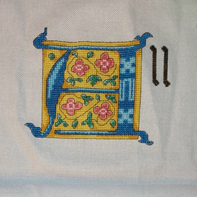 All Shall be Well cross-stitch project progress