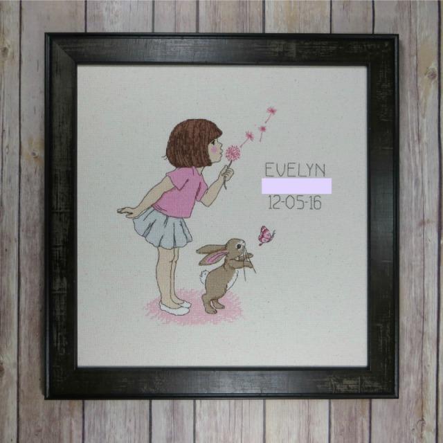 Belle & Boo dandelion cross-stitch birth sampler