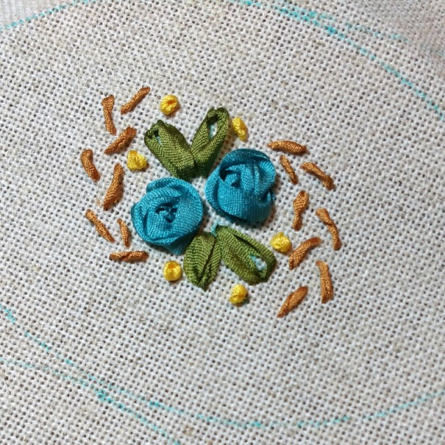 ribbon embroidery blue roses