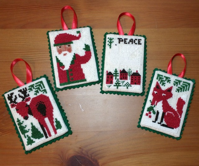 Prairie Schooler Evergreen cross-stitch Christmas ornaments