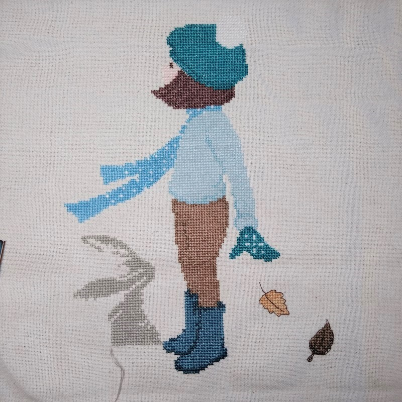 Belle and Boo Windy Day Cross-Stitch project progress