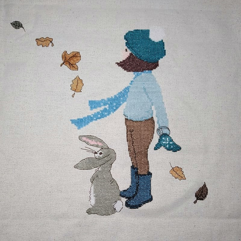 Belle and Boo Windy Day cross-stitch project